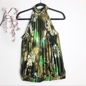 Papaya Green Floral Pleated Self-Tie Blouse